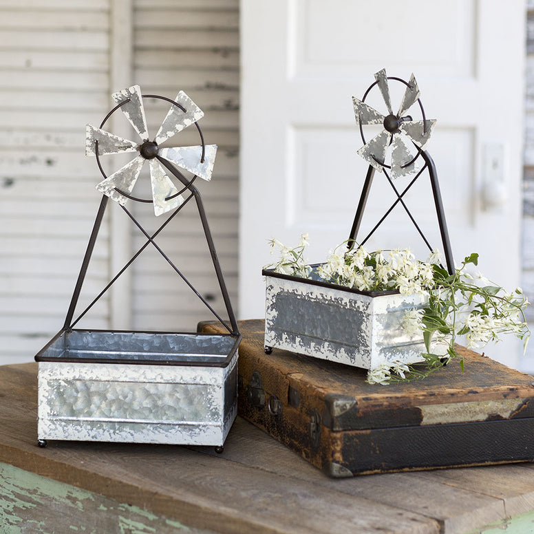 Set Of Two Farmhouse Style Indoor/Outdoor Planters Featuring Windmill Designs