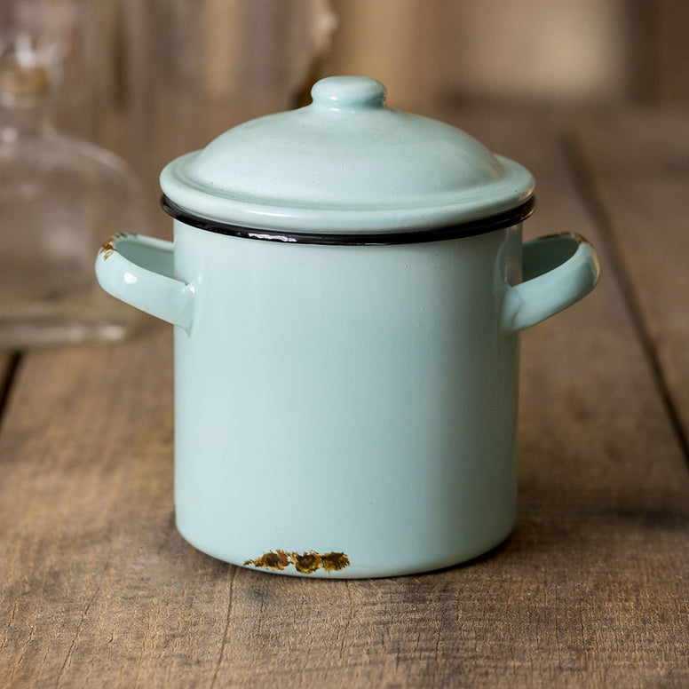 Vintage Farmhouse Style Small Metal Canister With Handles