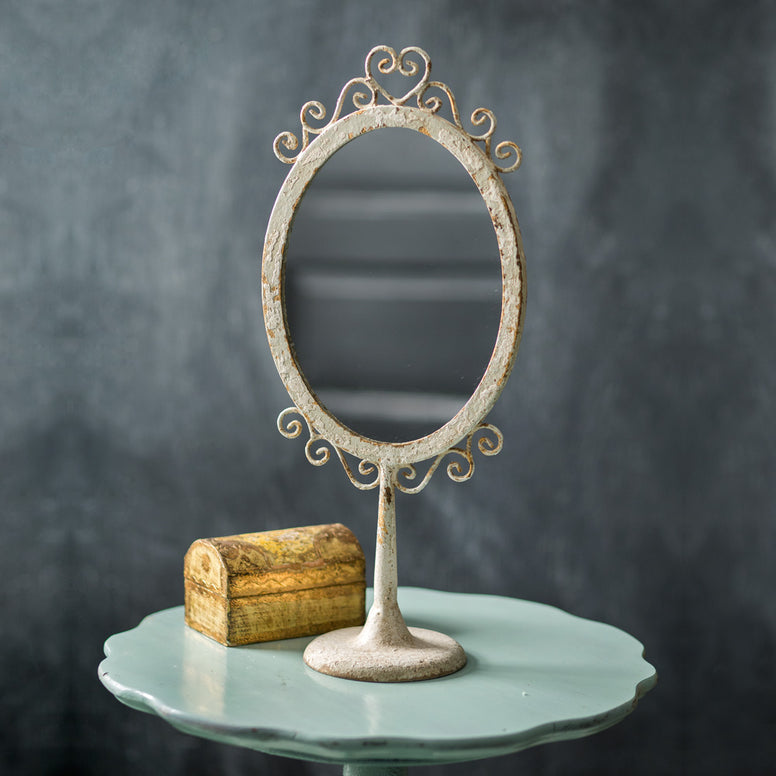 Vintage Styled Vanity Mirror Featuring Scrollwork and Cast Iron Base