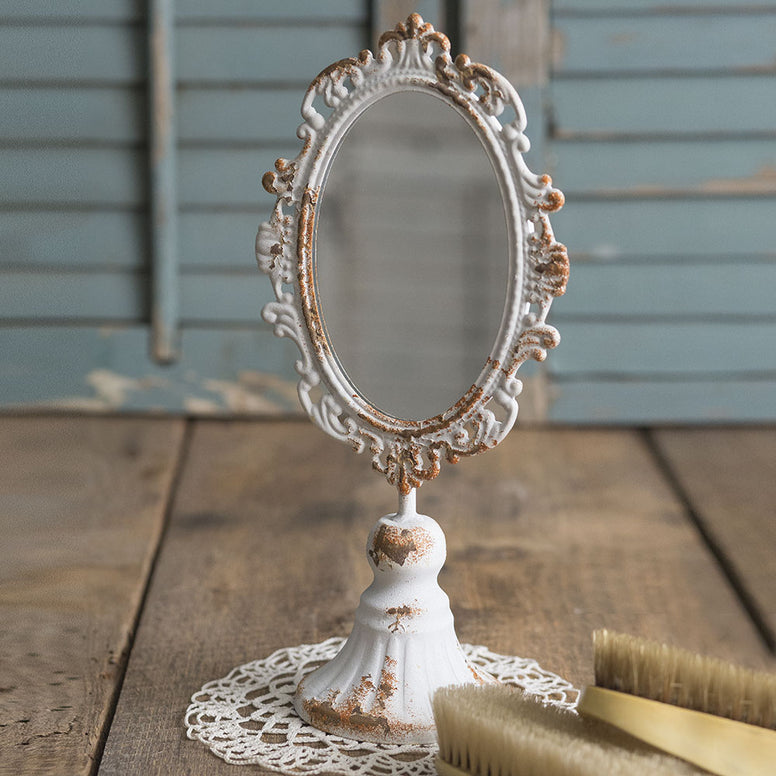 Victorian Style Tabletop Mirror Featuring Scrollwork And Distressed Finish