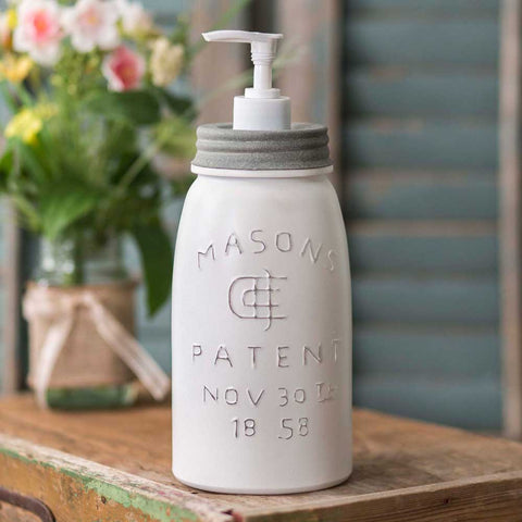 Perfect for larger bottles of lotion or dishwashing soap, this inspired white mason jar will hold one quart of liquid.