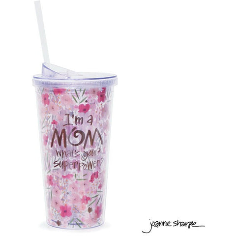 "Insulated acrylic travel cup has a pink floral design with the message in gold reading ""I'm A Mom, What's Your Superpower?"""