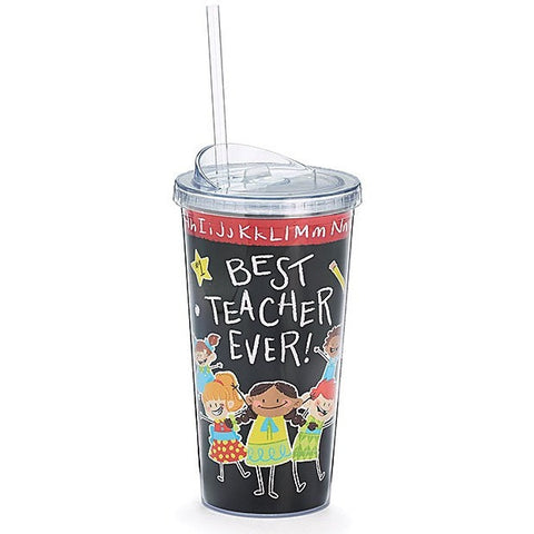 Colorful tall travel mug with black background, white lettering and colorful children. Comes with straw and lid.