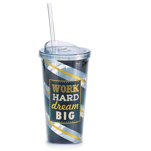 This insulated acrylic travel cup has sophisticated black, silver and gold stripes in the design and the message 'Work Hard Dream Big'.