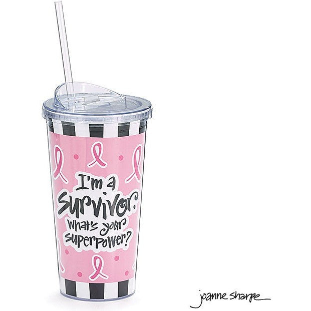 Pink ribbon design acrylic travel cup with pink, white and black design. Includes top and straw.