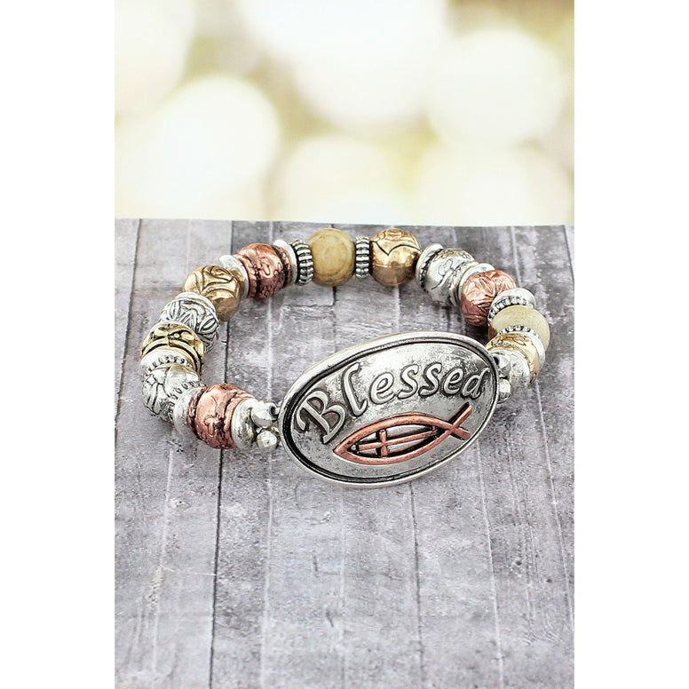 Burnished Tri-Tone Multi-Textured Beads With Oval 'Blessed' Message Plate Stretch Bracelet
