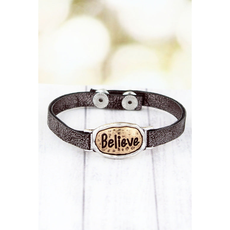 Gray Faux Leather Cuff Bracelet Has Burnished Goldtone and Silvertone Oval 'Believe' Message Plate