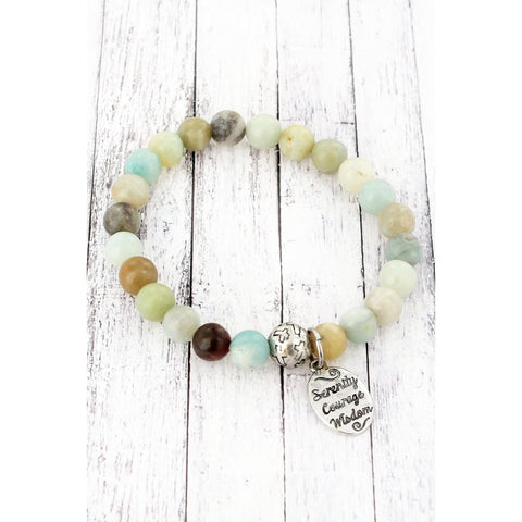 Burnished Silvertone 'Serenity Courage Wisdom' Charm Mint Beaded Stretch Bracelet