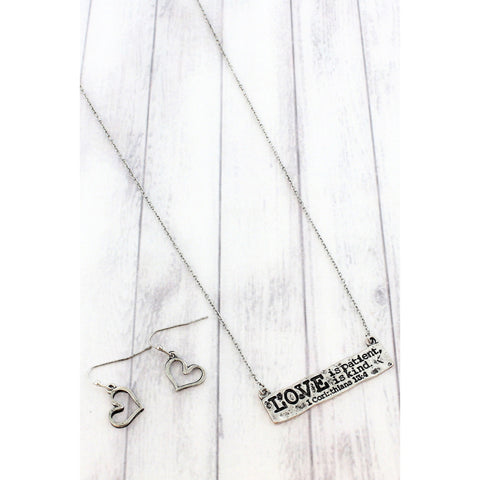 "Burnished Silvertone Bar Pendant 17"" + 3"" Necklace and Earring Set With Encouraging Quote From 1 Corinthians 13:4"