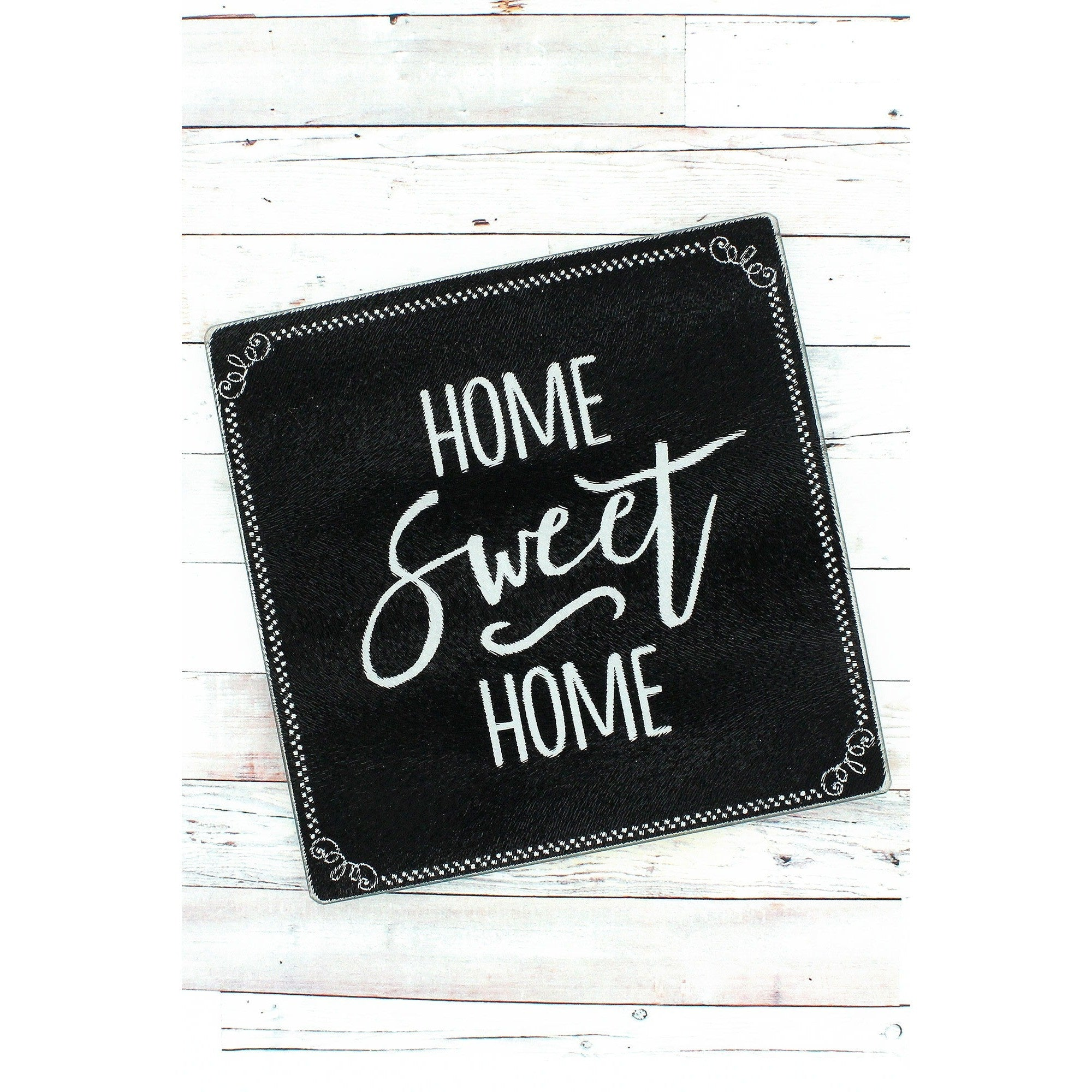Chalkboard Design Glass Trivet With Home Sweet Home Message Stock Photo T Shirts For Designers