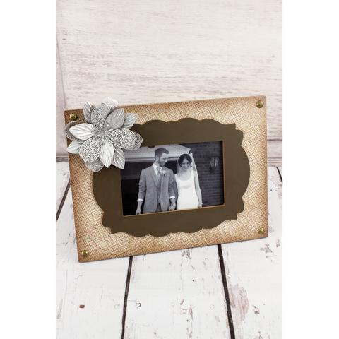 Photo Frame With Stylized Vintage Light And Brown Vintage Design. Includes 3-D Silver Flower In Left Corner.