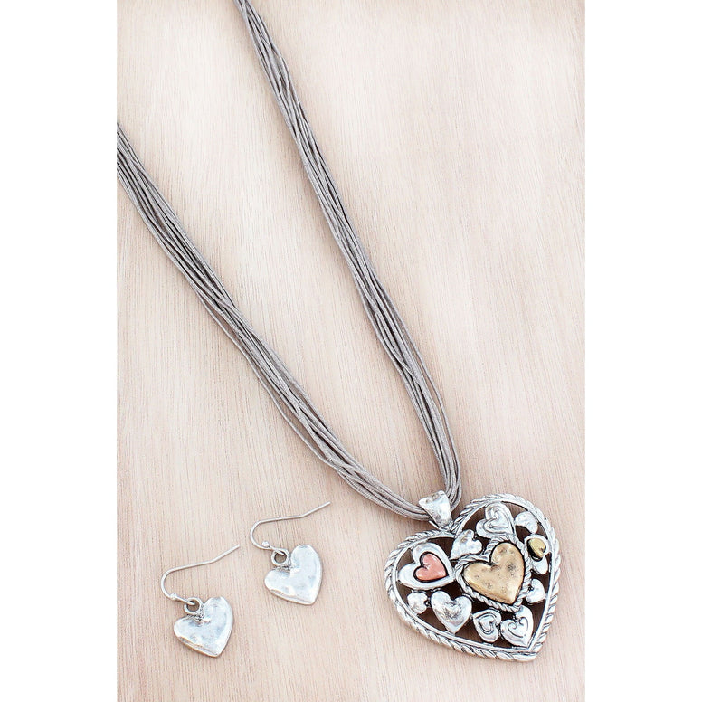 Burnished Silvertone Heart Pendant Multi-Strand Necklace and Earring Set