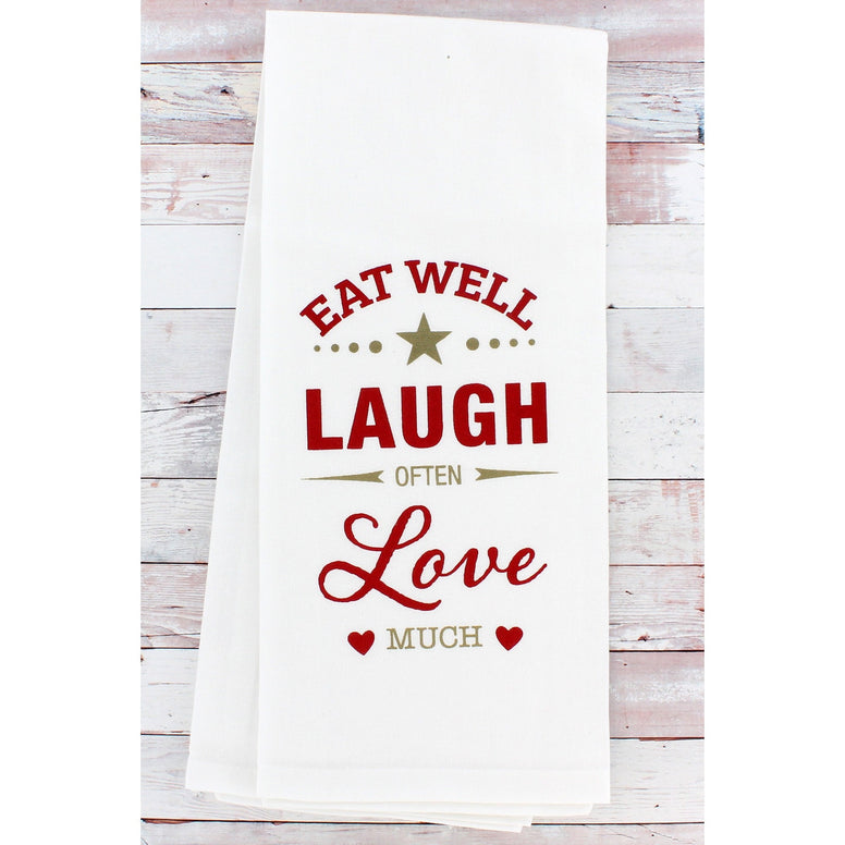 White cotton dish towel with chic stylized red and gold design that includes hearts and stars.