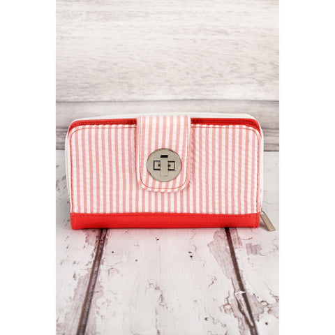 Organizer Clutch Wallet Featuring Striped Seersucker Design