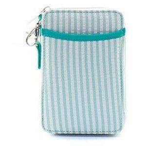 Striped Seersucker Wristlet Featuring Bright Coral Or Bold Aqua Design
