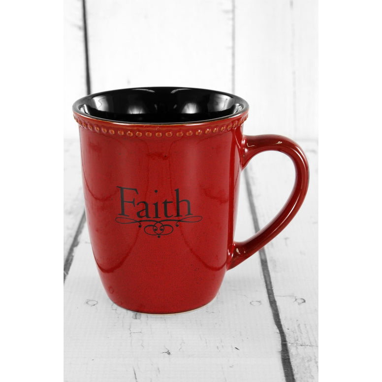 Red Ceramic 'Faith' Mug