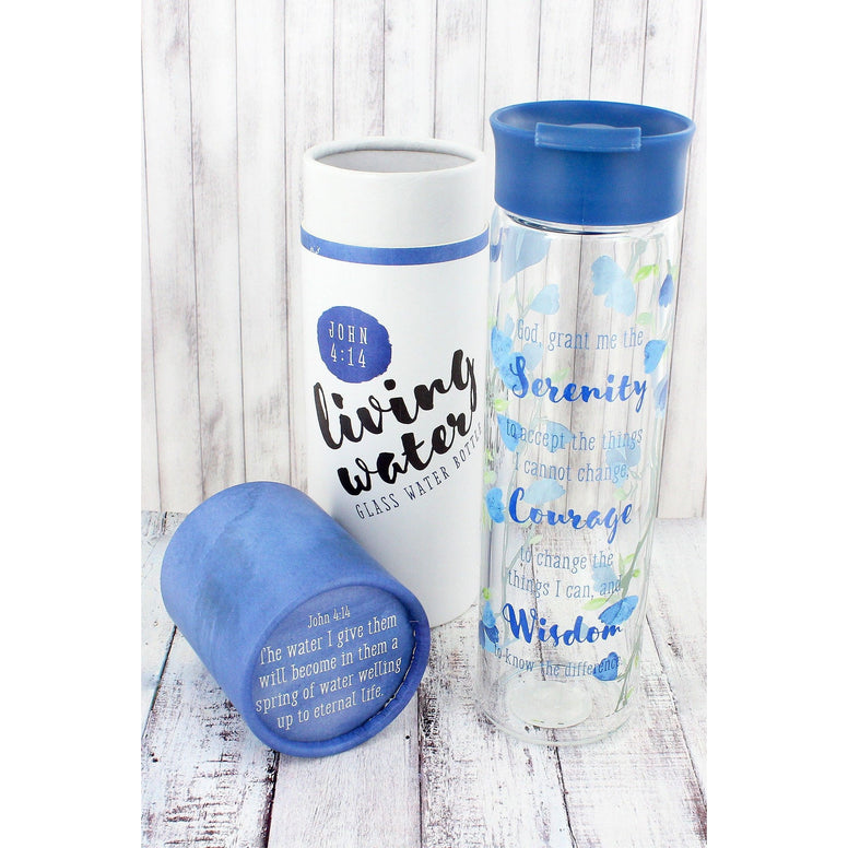 'God, Grant Me Serenity' Glass Water Bottle