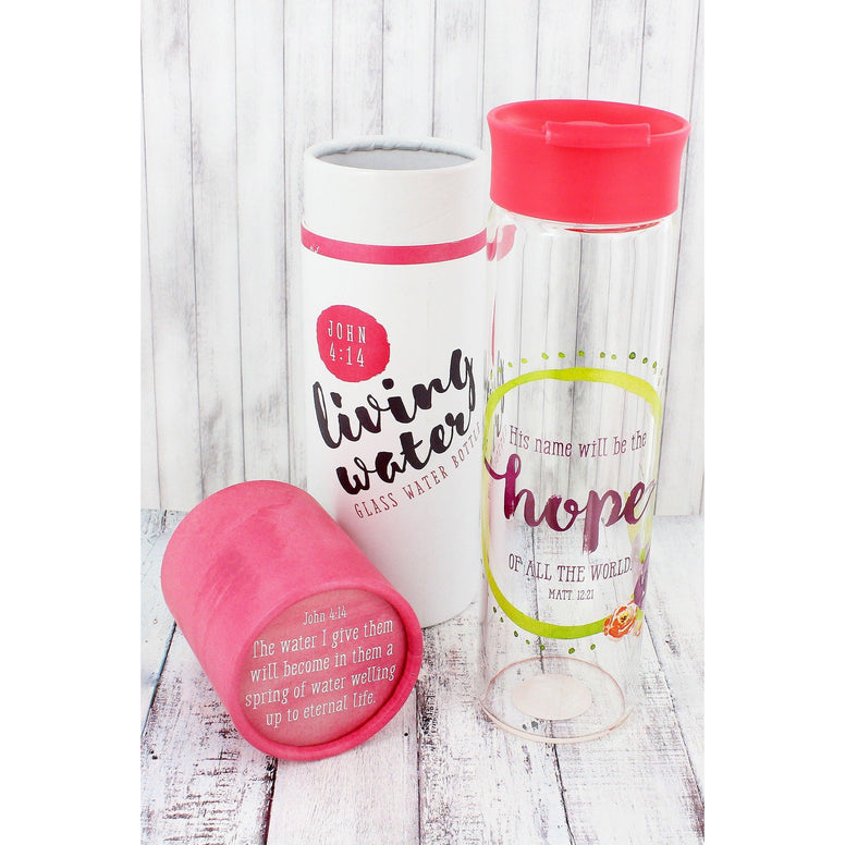 'His Name Will Be The Hope Of All The World' Glass Water Bottle