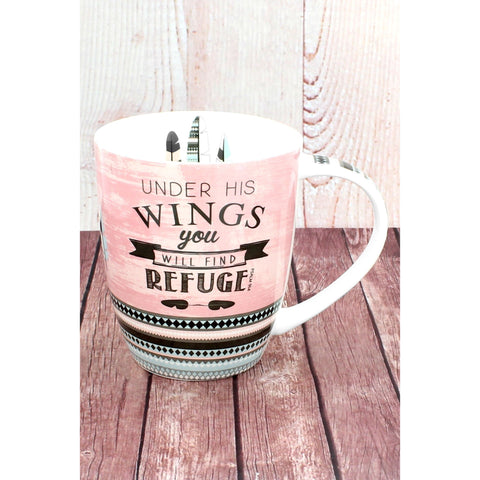 Colorful 'Under His Wings You Will Find Refuge' Mug