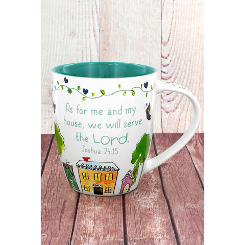 Colorful 'As For Me and My House, We Will Serve The Lord' Mug