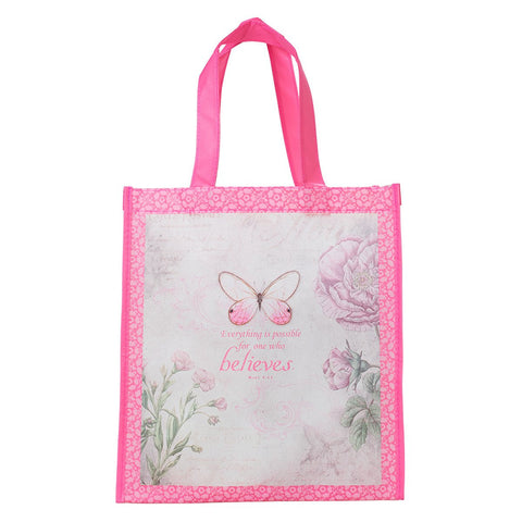 Pink Tote Bag Featuring Mark 9:23 'Believe' Message And Butterfly Design