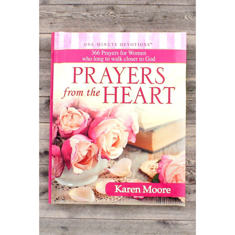 Prayers From The Heart' includes 366 devotional prayers and features an elegant pink and rose designed hardcover binding,