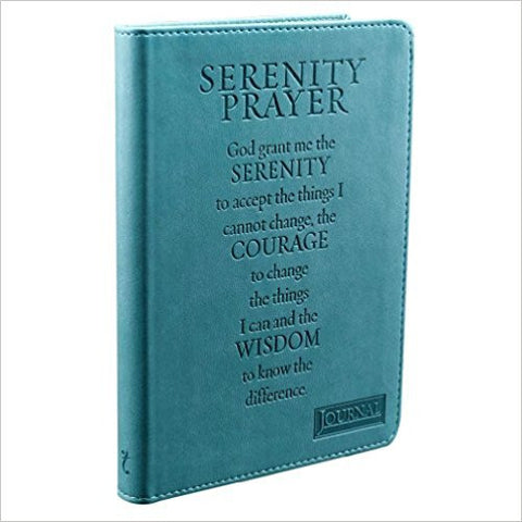 The turquoise journal cover is embossed with the Serenity Prayer and constructed of quality man-made material imported from Italy, with the look and feel of real leather (trade name LuxLeather).