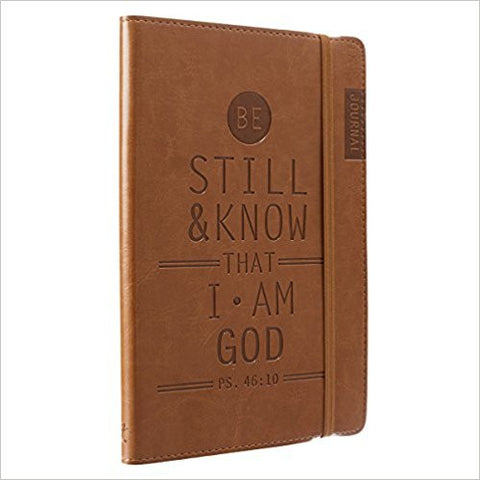 The dark tan front cover of this special journal is debossed with the encouraging message to 'Be Still And Know That I Am God'. In addition, each page carries a special passage to bring your life inspiration.