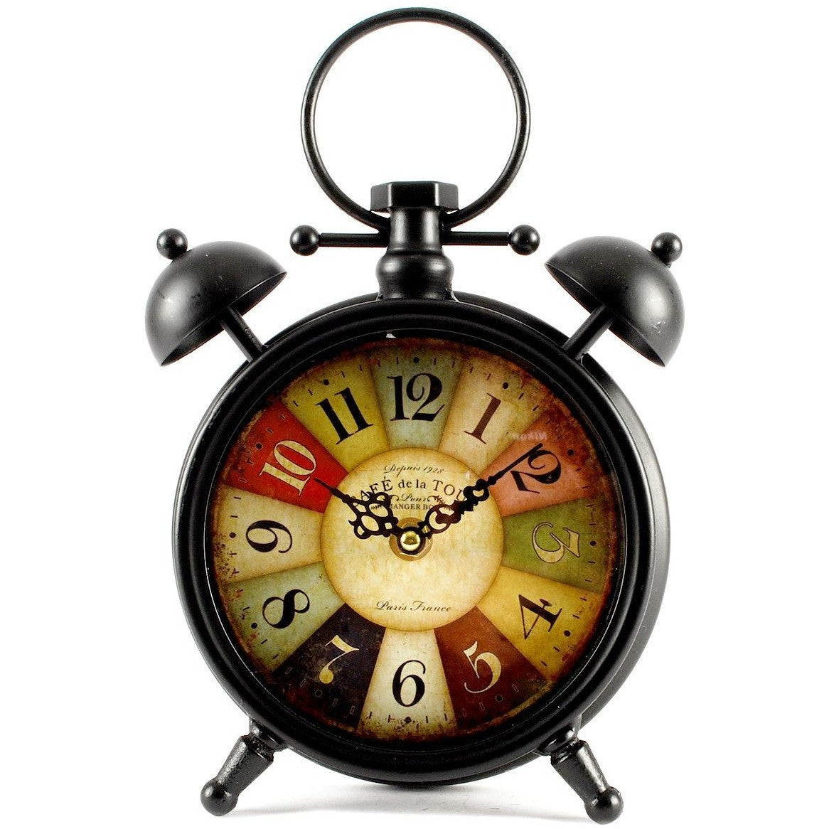 Clock Has A Retro Old Style Alarm Clock Black Base And The Face Is Designed  With
