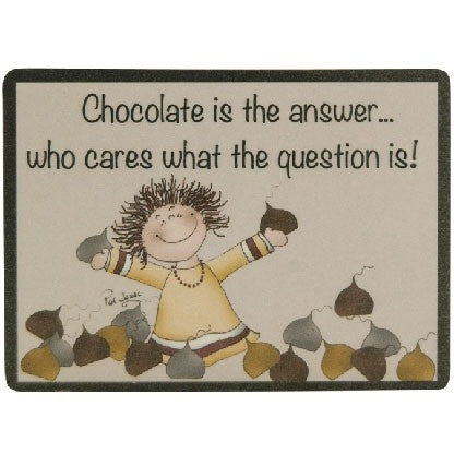 The design of the magnet depicts a happy girl surrounded by chocolate kisses.