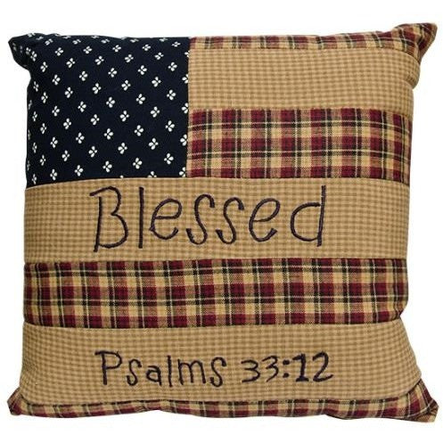 Patchwork flag pillow comes with a tan backing and features easy-care 100% cotton fabrics in country red, navy, and tea stain plaids and prints.