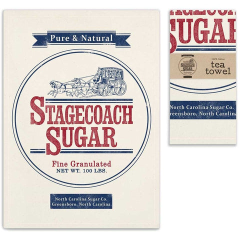 Vintage style tea towels have a colorful design of an old fashioned sugar sack that features a 'Stagecoach Sugar' label. Towels include a corner hanging tab.