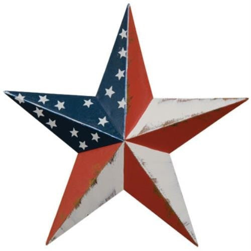 This metal barn star features a distressed red, navy and antique white finish and is accented with stars.