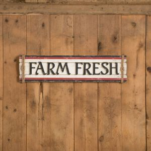 Sign features embossed black wood lettering that really stands out against the white wood planks. Black and red border stripes add additional rustic style and the sign is finished off with twine wrapped ends for a country touch.