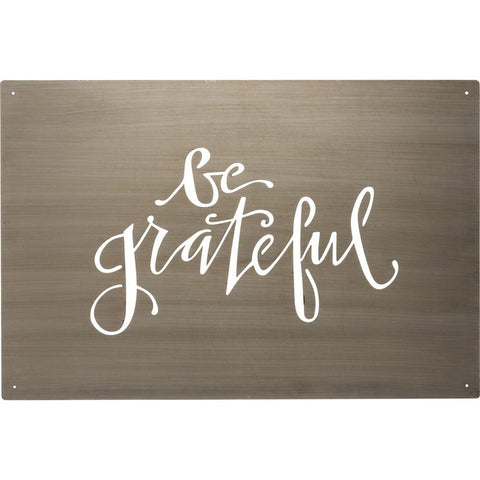 'Be Grateful' is the special message found on this trendy metal wall art.  Cut out of a metal plate, the message is in fun script and the piece comes ready to hang with four predrilled holes.