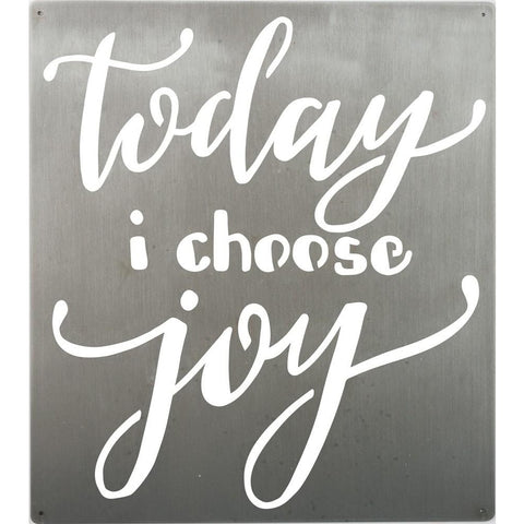 "This brushed metal wall art features the precision cut message ""Today I Choose Joy"" in hand lettered script."
