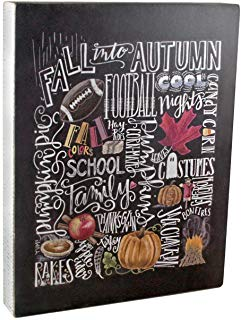 This rustic wooden box sign the features a distressed white sides and a fall colored design on a black background.