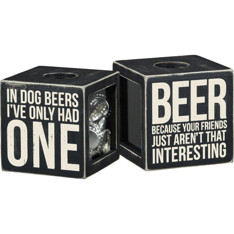 Black And White 'In Dog Beers I've Only Had One' Cork And Cap Holder