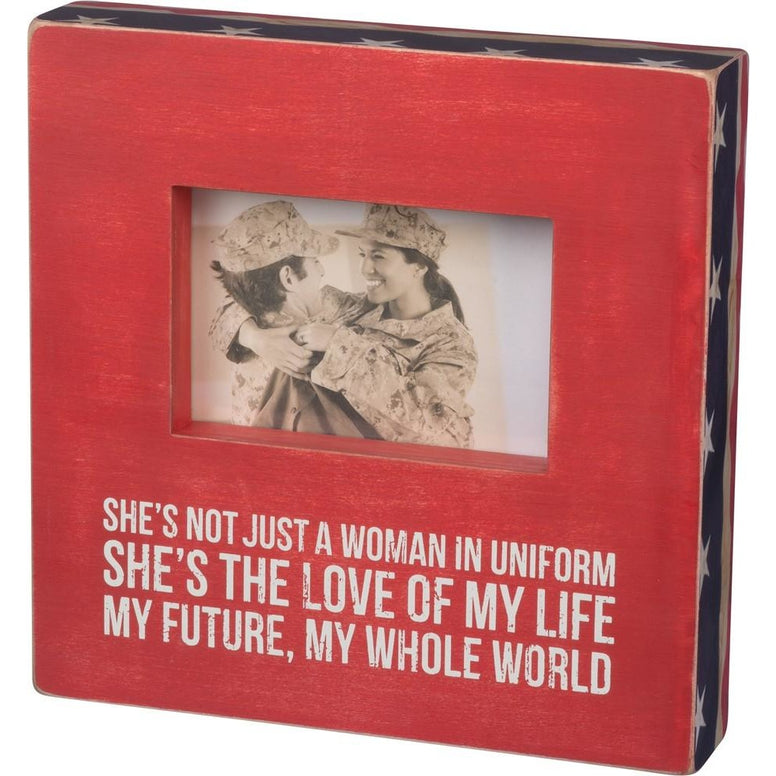 Red, White, And Blue 'She's Not Just A Woman In Uniform' Box Frame