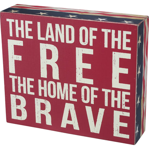 Patriotic 'Land Of The Free' Box Sign