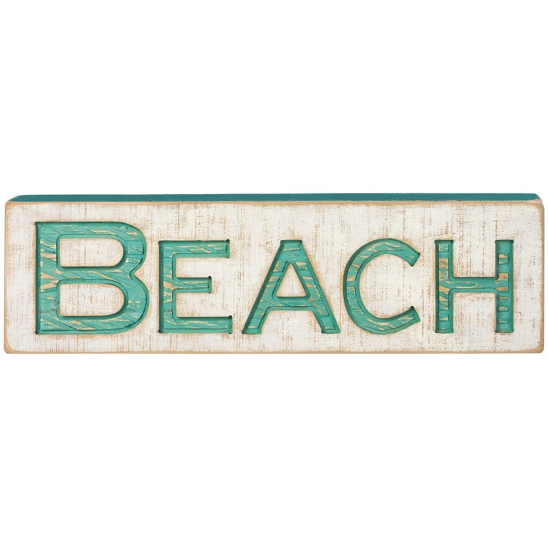 White 'Beach' Carved Sign Featuring Fun Teal Lettering