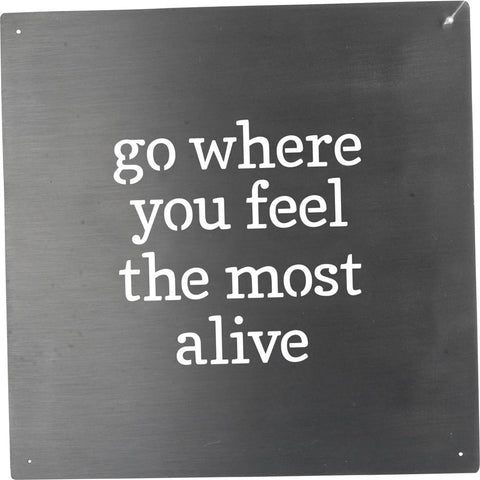 Trendy And Inspirational 'Alive' Metal Wall Sign