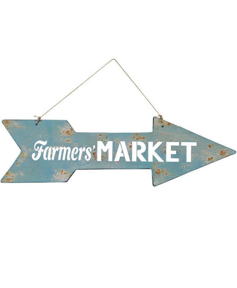 "Rustic Farmhouse Inspired Metal Arrow Featuring ""Farmers' Market"" Design"