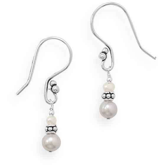 Earrings are made with sterling silver french wires, 6mm grey cultured freshwater pearls and sterling silver beads.
