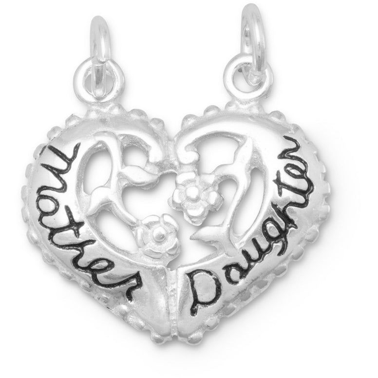 Sterling silver break-away charm is heart shaped, has a flower design and is inscribed with 'Mother' on one side and 'Daughter' on the other.