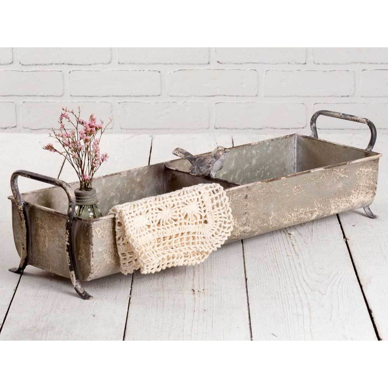 Vintage designed metal tray features a distressed finish and sweet songbird.