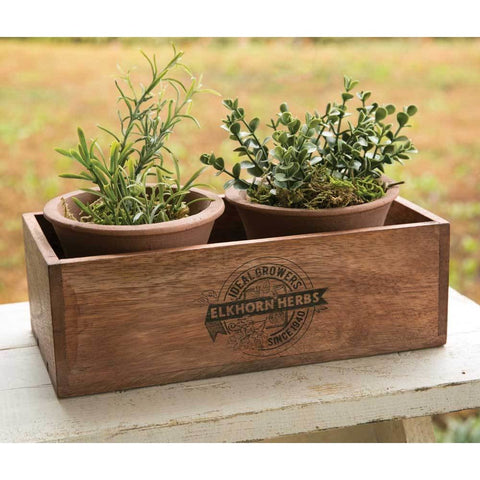 Wooden Box Planter Featuring Elkhorn Herbs Design And Two Terra Cotta Pots
