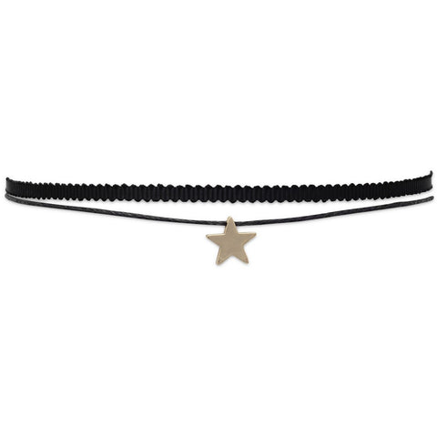 Fashionable Double Strand Black Thread Design Choker With Star Slide