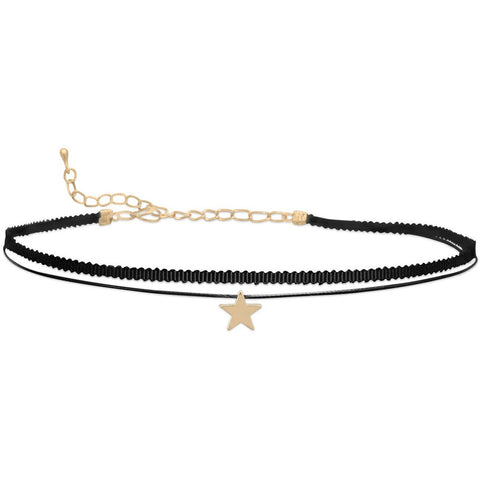 double strand black thread stylized choker with 11mm gold tone star slide.