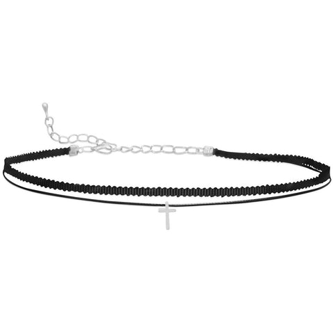 double strand black thread choker with a silver tone cross slide.